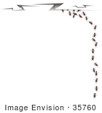 #35760 Clip Art Graphic Of Sneaky Ants Running Off Into Cracks