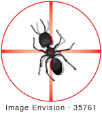 #35761 Clip Art Graphic Of Red Target Light Centered On A Black Sugar Ant