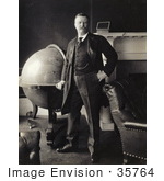 #35764 Stock Photo Of Theodore Roosevelt Standing By A Large Globe In Front Of A Fireplace With Sepia Toning