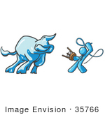 #35766 Clip Art Graphic Of A Sky Blue Guy Character Battling A Bull With A Whip
