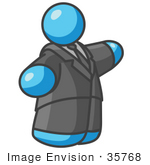 #35768 Clip Art Graphic of a Sky Blue Guy Character in a Business Suit, Pointing by Jester Arts