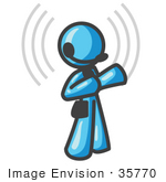 #35770 Clip Art Graphic Of A Sky Blue Guy Character Speaking On A Headset With Waves