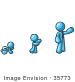 #35773 Clip Art Graphic of a Sky Blue Guy Character Growing From a Baby to a Man by Jester Arts