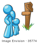 #35774 Clip Art Graphic Of A Sky Blue Guy Character And Child At A Crossroads