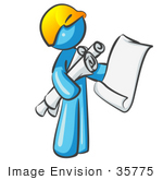 #35775 Clip Art Graphic of a Sky Blue Guy Character Holding Blueprints by Jester Arts