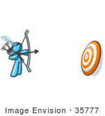 #35777 Clip Art Graphic Of A Sky Blue Guy Character Shooting Arrows