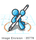 #35778 Clip Art Graphic Of A Sky Blue Guy Character Drawing A Circle On Graph Paper