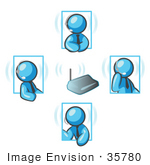 #35780 Clip Art Graphic Of Sky Blue Guy Characters Having Conversations With Headsets