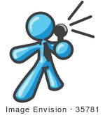 #35781 Clip Art Graphic Of A Sky Blue Guy Character Speaking Through A Microphone