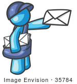 #35784 Clip Art Graphic Of A Sky Blue Guy Character Delivering Mail