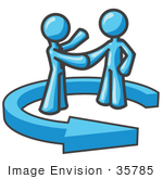 #35785 Clip Art Graphic of Sky Blue Guy Characters Shaking Hands in an Arrow by Jester Arts