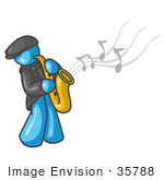 #35788 Clip Art Graphic Of A Sky Blue Guy Character Playing Jazz With A Saxophone
