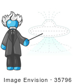 #35796 Clip Art Graphic Of A Sky Blue Guy Character As Einstein Pointing To A Ufo