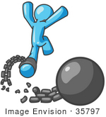 #35797 Clip Art Graphic of a Sky Blue Guy Character Breaking Free From a Chain and Ball by Jester Arts