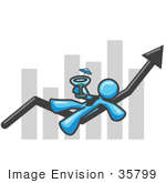 #35799 Clip Art Graphic Of A Sky Blue Guy Character Drinking A Martini On A Bar Graph