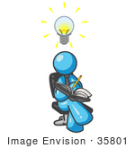 #35801 Clip Art Graphic Of A Sky Blue Guy Character Writing Ideas Down