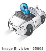 #35808 Clip Art Graphic Of A Sky Blue Guy Character Driving And Talking On A Cell Phone