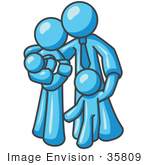 #35809 Clip Art Graphic Of A Sky Blue Family Hugging