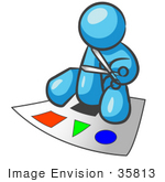 #35813 Clip Art Graphic of a Sky Blue Guy Character Cutting Out Shapes by Jester Arts