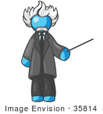 #35814 Clip Art Graphic Of A Sky Blue Guy Character As Einstein