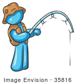 #35816 Clip Art Graphic Of A Sky Blue Guy Character Fishing