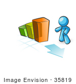 #35819 Clip Art Graphic Of A Sky Blue Guy Character With A Bar Graph