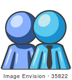 #35822 Clip Art Graphic Of A Sky Blue Guy Character Boss With Employee