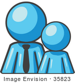 #35823 Clip Art Graphic Of A Sky Blue Guy Character With Child