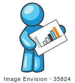 #35824 Clip Art Graphic of a Sky Blue Guy Character Holding a Bar Graph Chart by Jester Arts
