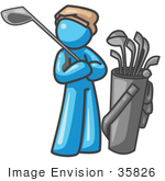 #35826 Clip Art Graphic Of A Sky Blue Guy Character Golfing