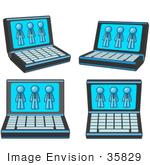 #35829 Clip Art Graphic Of A Sky Blue Guy Character On Computer Screens