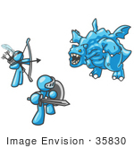 #35830 Clip Art Graphic Of Sky Blue Guy Characters Killing A Dragon