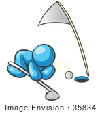 #35834 Clip Art Graphic Of A Sky Blue Guy Character Trying To Blow A Golf Ball Into A Hole
