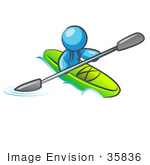 #35836 Clip Art Graphic Of A Sky Blue Guy Character Kayaking