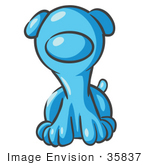 #35837 Clip Art Graphic Of A Sky Blue Puppy Dog