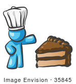 #35845 Clip Art Graphic of a Sky Blue Guy Character Chef With Chocolate Cake by Jester Arts