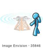 #35846 Clip Art Graphic Of A Sky Blue Guy Character Talking On A Phone By A Tower