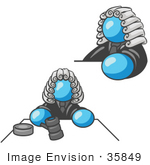 #35849 Clip Art Graphic Of A Sky Blue Guy Character Judge