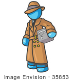 #35853 Clip Art Graphic Of A Sky Blue Guy Character Investigator Carrying A Box