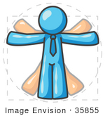 #35855 Clip Art Graphic Of A Sky Blue Guy Character Vitruvian Man