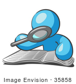 #35858 Clip Art Graphic Of A Sky Blue Guy Character Reading With A Magnifying Glass