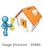 #35860 Clip Art Graphic Of A Sky Blue Guy Character With A Key To A Home