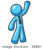 #35861 Clip Art Graphic Of A Sky Blue Guy Character Waving