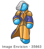 #35863 Clip Art Graphic Of A Sky Blue Guy Character As George Washington