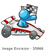 #35866 Clip Art Graphic Of A Sky Blue Guy Character Racing A Car
