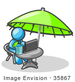 #35867 Clip Art Graphic Of A Sky Blue Guy Character Working Under An Umbrella