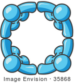 #35868 Clip Art Graphic Of Sky Blue Guy Characters In A Circle Holding Hands
