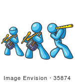 #35874 Clip Art Graphic Of Sky Blue Guy Characters In A Band