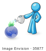 #35877 Clip Art Graphic Of A Sky Blue Guy Character Watering A Globe