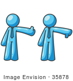 #35878 Clip Art Graphic of a Sky Blue Guy Character Giving Thumbs up and Down by Jester Arts